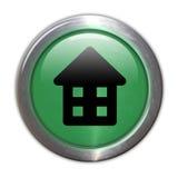 Bouton en verre vert - à la maison Photographie stock libre de droits