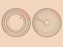Bouton et cadran avec l'aiguille dans un style de handrawn sur une texture Image stock