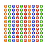 Bouton för website för internet för knappsymbolsuppsättning 3D Royaltyfria Bilder