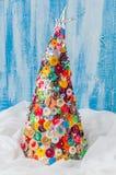 Bouton fait main et Pin Christmas Tree Image stock