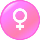 Bouton femelle de symbole de genre Images libres de droits