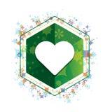 Bouton floral d'hexagone de vert de modèle d'usines d'icône de coeur illustration libre de droits