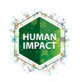 Bouton floral d'hexagone de vert de modèle d'usines d'impact humain illustration de vecteur