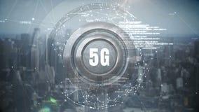 bouton 5G avec le paysage urbain illustration stock