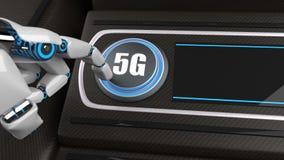 Bouton 5G de main de robot images libres de droits
