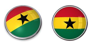 Bouton Ghana de drapeau Photo stock