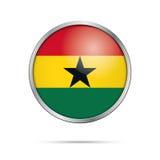 Bouton ghanéen de drapeau de vecteur Drapeau du Ghana dans le style en verre de bouton Images libres de droits