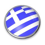 Bouton Grèce de drapeau Photo stock