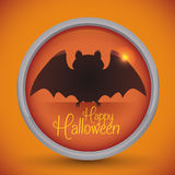 Bouton heureux de batte de Halloween sur le fond orange illustration stock