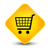 Bouton jaune élégant de diamant d'icône de commerce électronique illustration de vecteur