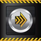Bouton jaune de danger sur un fond en acier Photographie stock