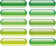 Bouton lustré vert réglé avec la réflexion Image stock