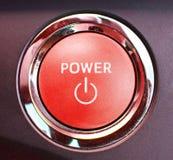 Bouton marche de moteur de voiture hybride, industrie automobile photographie stock