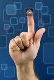 Bouton marche sur la surface adjacente d'écran tactile Images libres de droits