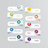 Bouton moderne de bannière avec des options sociales de conception d'icône illustration de vecteur