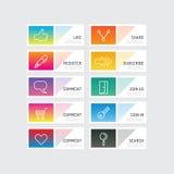 Bouton moderne de bannière avec des options sociales de conception d'icône Défectuosité de vecteur illustration stock