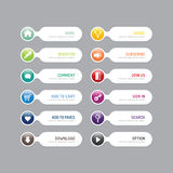 Bouton moderne de bannière avec des options sociales de conception d'icône Défectuosité de vecteur illustration libre de droits