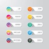 Bouton moderne de bannière avec des options sociales de conception d'icône Défectuosité de vecteur Image stock