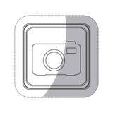 bouton monochrome de place de silhouette d'autocollant avec l'appareil-photo analogue Images libres de droits