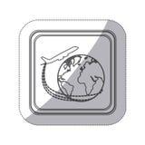 bouton monochrome de place de silhouette d'autocollant avec l'avion autour du monde de la terre Image libre de droits