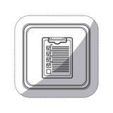 bouton monochrome de place de silhouette d'autocollant avec le bloc-notes de table avec la liste de contrôle Photographie stock libre de droits
