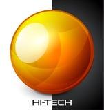 Bouton orange réaliste de sphère illustration de vecteur