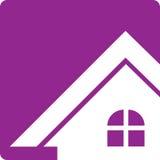 Bouton pourpre Real Estate Logo House Photos stock