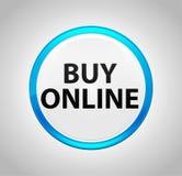 Bouton poussoir bleu rond en ligne d'achat illustration de vecteur
