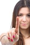 Bouton poussoir de doigt de point de femme ou écran tactile images stock