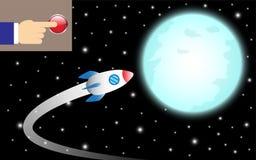 Bouton-poussoir de doigt pour tourner Rocket To The Moon Photo stock
