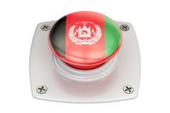 Bouton poussoir de drapeau de l'Afghanistan, 3D Images stock