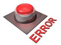 Bouton poussoir rouge d'erreurs Image stock
