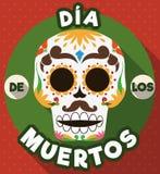 Bouton rond avec le crâne mexicain traditionnel de et le x22 ; Dia de Muertos et x22 ; , Illustration de vecteur Images stock