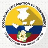 Bouton rond avec le vase brisé pour le Jour de la Déclaration d'Indépendance colombien, illustration de vecteur Photographie stock libre de droits