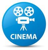 Bouton rond bleu cyan de cinéma (icône de caméra vidéo) Photographie stock libre de droits