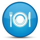 Bouton rond bleu cyan spécial d'icône de plat de nourriture Photos libres de droits