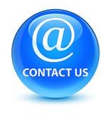 Bouton rond bleu cyan vitreux de contactez-nous (icône d'adresse e-mail) illustration stock