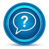 Bouton rond bleu de globe oculaire d'icône de bulle de point d'interrogation illustration stock