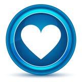 Bouton rond bleu de globe oculaire d'icône de coeur illustration de vecteur