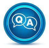 Bouton rond bleu de globe oculaire d'icône de FAQ illustration libre de droits