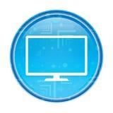 Bouton rond bleu floral d'icône de moniteur illustration libre de droits