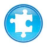 Bouton rond bleu floral d'icône de puzzle illustration de vecteur