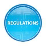 Bouton rond bleu floral de règlements illustration libre de droits