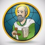 Bouton rond dans le style en verre souillé avec le saint Paul Image, illustration de vecteur illustration libre de droits