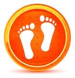 Bouton rond orange naturel d'icône humaine de deux empreintes de pas illustration stock