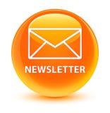 Bouton rond orange vitreux de bulletin d'information Image libre de droits