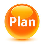 Bouton rond orange vitreux de plan Image libre de droits