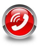 Bouton rond rouge brillant de sonnerie d'icône de téléphone illustration libre de droits