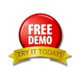Bouton rouge avec la démo gratuite de ` de mots - essayez-la aujourd'hui ` Photographie stock libre de droits