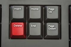 Bouton rouge d'effacement Images libres de droits